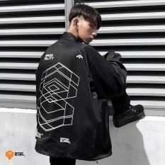 Áo khoác nam nữ ONTOP – Signature vải dù cổ bẻ màu đen