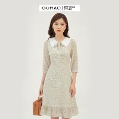Váy đầm nữ đẹp hoa nhí thiết kế họa tiết phối cổ thời trang GUMAC mẫu mới trẻ trung thoải mái chất liệu vải voan mát mẻ DB3111
