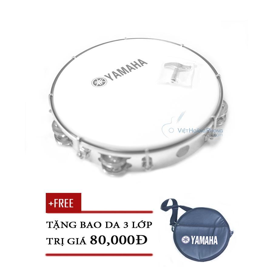 Trống lắc tay - trống gõ bo - Tambourine Yamaha MT6-102A (Trắng đục) + Bao da 3 lớp - HappyLive...