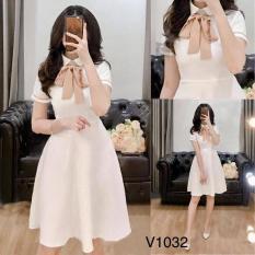 Đầm Xòe Cổ Trụ Cột Nơ Trắng Tinh Khôi Thời Trang Nữ PANOS VN223