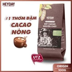 Bột cacao nguyên chất không đường Heyday – Origin 18% bơ cacao tự nhiên – Túi 100g – Chứng nhận UTZ – Hỗ trợ giảm cân – Keto – Vị socola nguyên bản – Không hương liệu, phụ gia