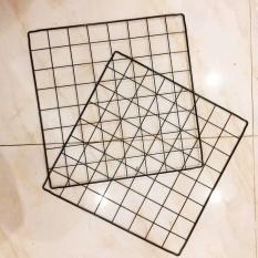 Khung Lưới Sắt Trang Trí Màu Đen 35x35cm Tặng Kèm 2 Móc Dính Đa Năng