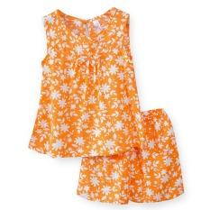 Bộ lanh mặc nhà bé gái quần đùi, áo sát nách Việt Thắng B62.2107 – Chất liệu mát, thoải mái