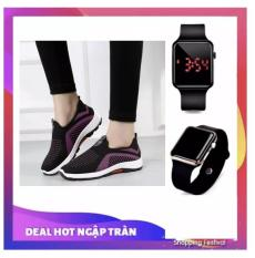 Giày thể thao nam nữ lười siêu thoáng Sportmax SPM905626D (Viền Trắng) + Tặng Đồng hồ Led táo thời trang thể thao hot