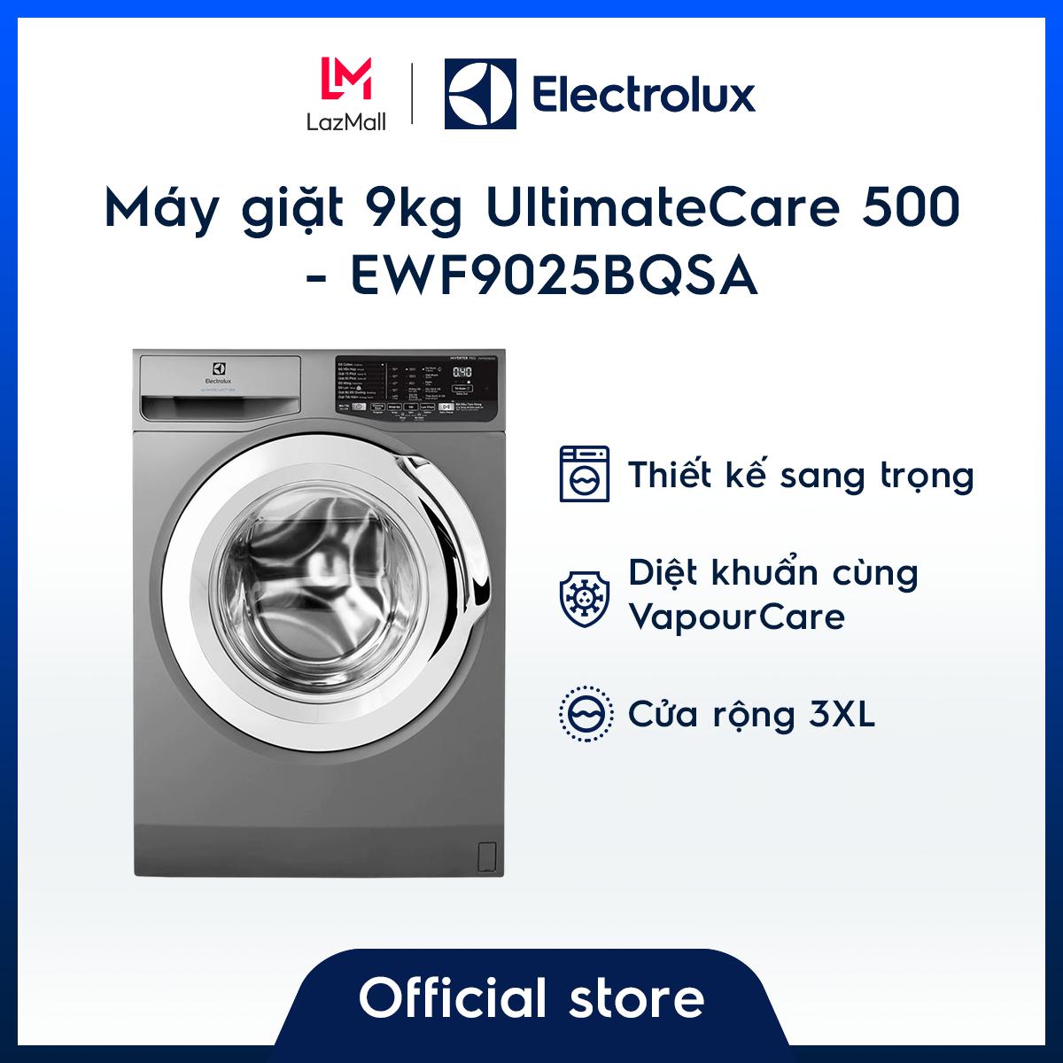 [Miễn phí công lắp đặt chính hãng] Máy giặt 9kg Electrolux EWF9025BQSA -Màu bạc- Diệt khuẩn- Tiết kiệm năng lượng-Chính hãng