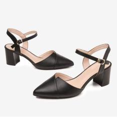Giày cao gót bít mũi đế vuông 5p thời trang- hình thật