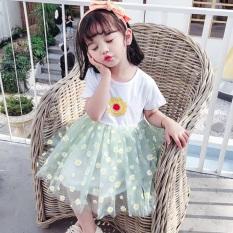 Váy công chúa in bông hoa cúc cho bé gái từ 8 đến 21kg, đầm bé gái