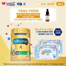 Sữa bột Enfagrow A+ 4 cho bé trên 2 tuổi 830g + Tặng 2 gói khăn ướt Bobby 100 tờ – Cam kết HSD còn ít nhất 10 tháng