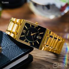 Đồng hồ nam Halei mặt vuông dây vàng mặt đen có lịch tặng kèm vòng tay tì hưu