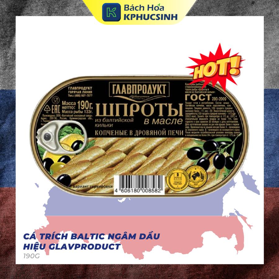 CÁ TRÍCH BALTIC NGÂM DẦU HIỆU GLAVPRODUCT 190G – Hàng Nhập Khẩu Nga (Russia)