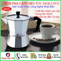 Ấm pha cà phê (cafe) siêu tốc công nghệ Nhật Bản-Bình pha cà phê Moka Pot 6 tách 300ml bằng Nhôm cao cấp, ấm pha cà phê (cafe) thông minh, dụng cụ pha cafe chuyên dụng tiện lợi hơn Phin pha cà phê trung nguyên cho gia đình, văn phòng