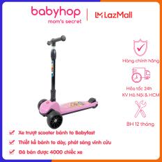 Xe trượt scooter Babyfast 3 bánh an toàn cho trẻ em của Babyhop chịu lực 100kg phù hợp cho cả bé trai và gái, bánh xe phát sáng vĩnh cửu, rèn luyện vận động, tăng chiều cao cho bé – Hàng chính hãng