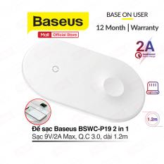 Đế sạc không dây Baseus BSWC-P19 2 in 1 sạc cùng lúc điện thoại và Apple Watch ( kèm dây Lightning 1.2m )