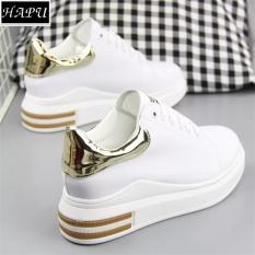 Giày sneaker nữ độn đế đẹp gót da bóng HAPU (Trắng đỏ, Trắng vàng, Trắng đen)