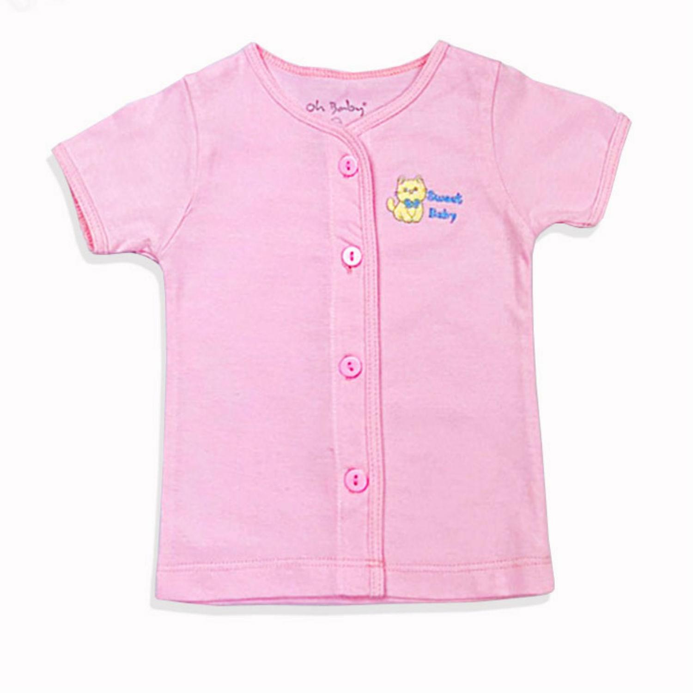 Áo ngắn tay hồng 2 sơ sinh