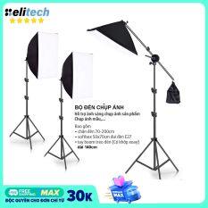 Bộ đèn chụp ảnh sản phẩm, đèn studio, quay phim, livestream chuyên nghiệp, bộ gồm chân đèn 2m kèm softbox 50x70cm. Chân đèn làm bằng hợp kim nhôm chắc chắn, có thể gấp gọn.