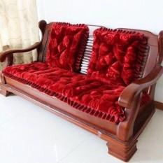 Bộ Thảm Đệm Ghế Nhung Hoa Hồng 3D Cao Cấp 170 cm X 50 cm l Kèm 2 Thảm Vuông 50cm x 50cm