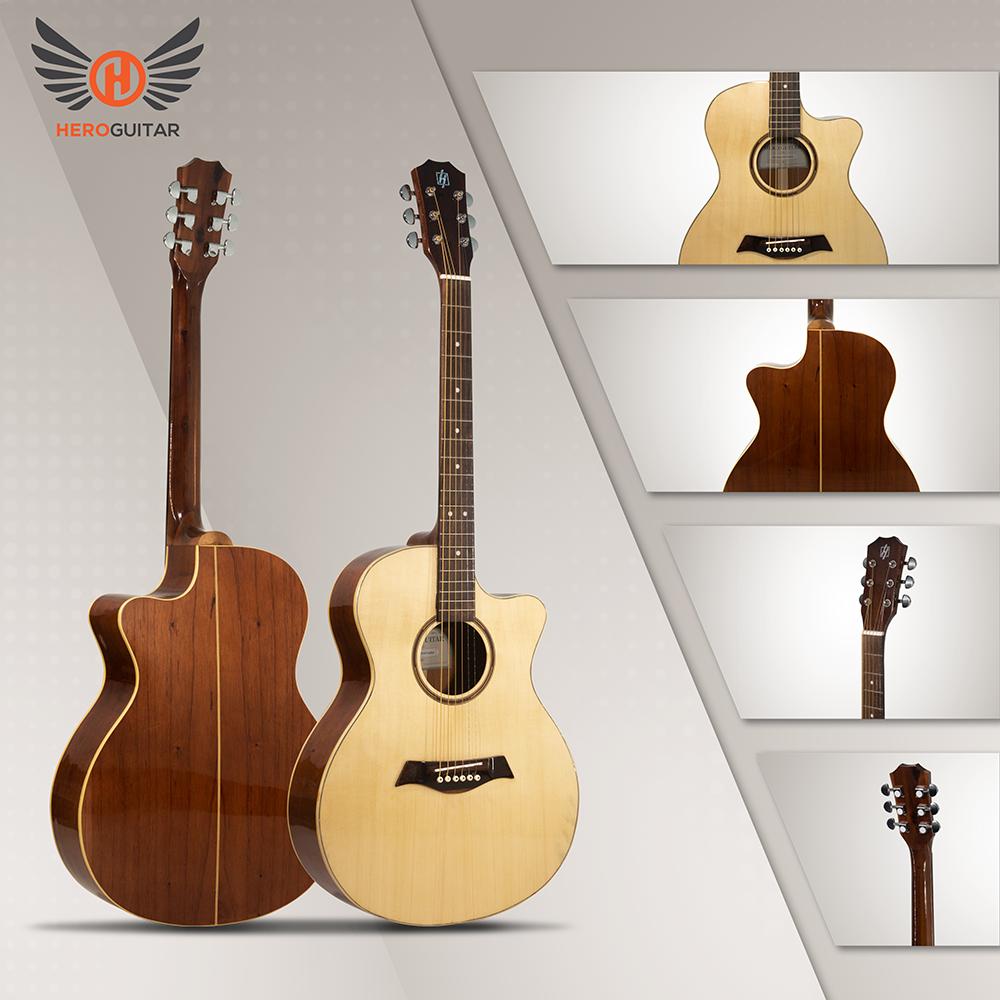 Guitar Acoustic Hero Standard 2 – Full solid [Mã S2-A] – Gỗ nguyên tấm 100% + Có ty chỉnh cần + Tặng kèm bao da và phụ kiện
