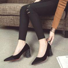 Giày cao gót mũi nhọn đế vuông đính nhũ nổi bật- G057