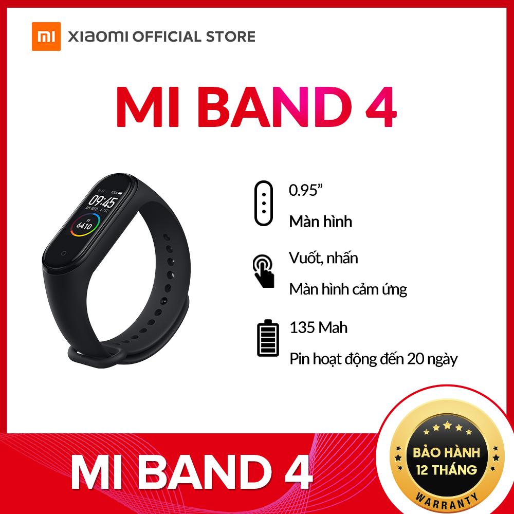 [XIAOMI OFFCIAIL] Vòng đeo tay thông minh Mi Band 4 – Theo dõi sức khỏe, kết nối Bluetooth, hỗ trợ tiếng Việt – Hàng chính hãng – Bảo hành 12 tháng