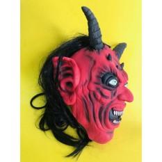 đồ chơi hóa trang mặt nạ kinh dị quỷ 2 sừng tóc dài nhe răng mã MBK4 KMMZ90