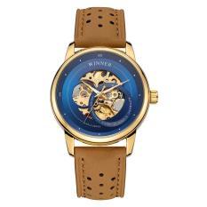 Đồng hồ cơ nam Winner TM339G lộ máy (Mặt xanh dây nâu)