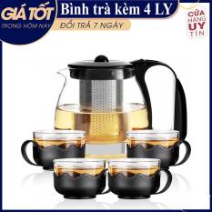 Binh trà – Bộ Bình Lọc Trà Thủy Tinh Kèm 4 Ly Lưới Lọc Inox 304 T.H Liac Tiện Dụng – Bình PhaTrà, Cafe Glass TeaPot Cao Cấp 700ml Tặng Kèm Ly Tiện Dụng