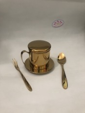 Bộ phin cafe inox 304 và muỗng cà phê vàng ánh kim cao cấp và bóng đẹp sang trọng an toàn vệ sinh – inox Thanh Huyền Hcm
