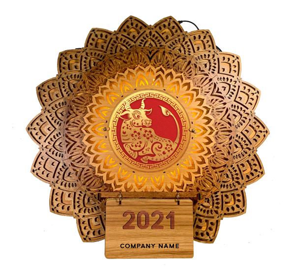 [Có Đèn LED] Lịch Tết Gỗ Cao Cấp Hoa Văn Mandala, Tranh Treo Tường, Tặng Kèm Hình Gỗ Thay Thế Tân Sửu 2021