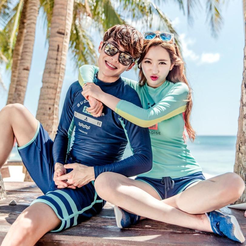 Đồ Bơi Cặp Đồ Bơi Tay Dài Che Nắng Đi Biển AT172 Shop Hoa Lan Long Sleeve Couple Swimsuits, UPF 50+ SUN PROTECTION