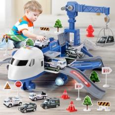 Bộ đồ chơi máy bay biến dạng chạy đà, tặng kèm 4 oto hợp kim