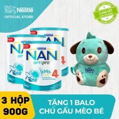 [FREESHIP] Bộ 3 lon sữa bột Nestle NAN Optipro 4 900g cho trẻ trên 2 tuổi + Tặng 1 Balo chú gấu mèo bé – Cam kết HSD còn ít nhất 10 tháng