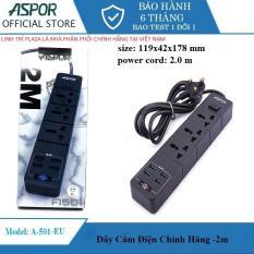 Ổ cắm điện thông minh tích hợp chíp IQ, 4 USB sạc nhanh 3.4A, dây dài 2 mét ASPOR A501 EU- Ổ cắm đa năng chịu nhiệt – Ổ điện công tắc .