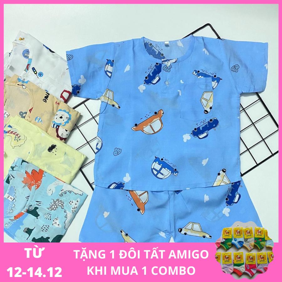 Combo 3 bộ quần áo bé Trai – Đồ bộ bé trai Cộc Tay vải Tole, lanh 2 da cao cấp (loại 1), size 1 đến 14 cho bé 5 đến 38kg, hàng Việt Nam chất lượng cao