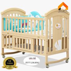 Cũi kéo dài thành giường 1,2m đến 1,6m, Cũi cho bé, Cũi gỗ tùng siêu chắc chắn có lót chống thấm, màn,icon hoạt hình – H098