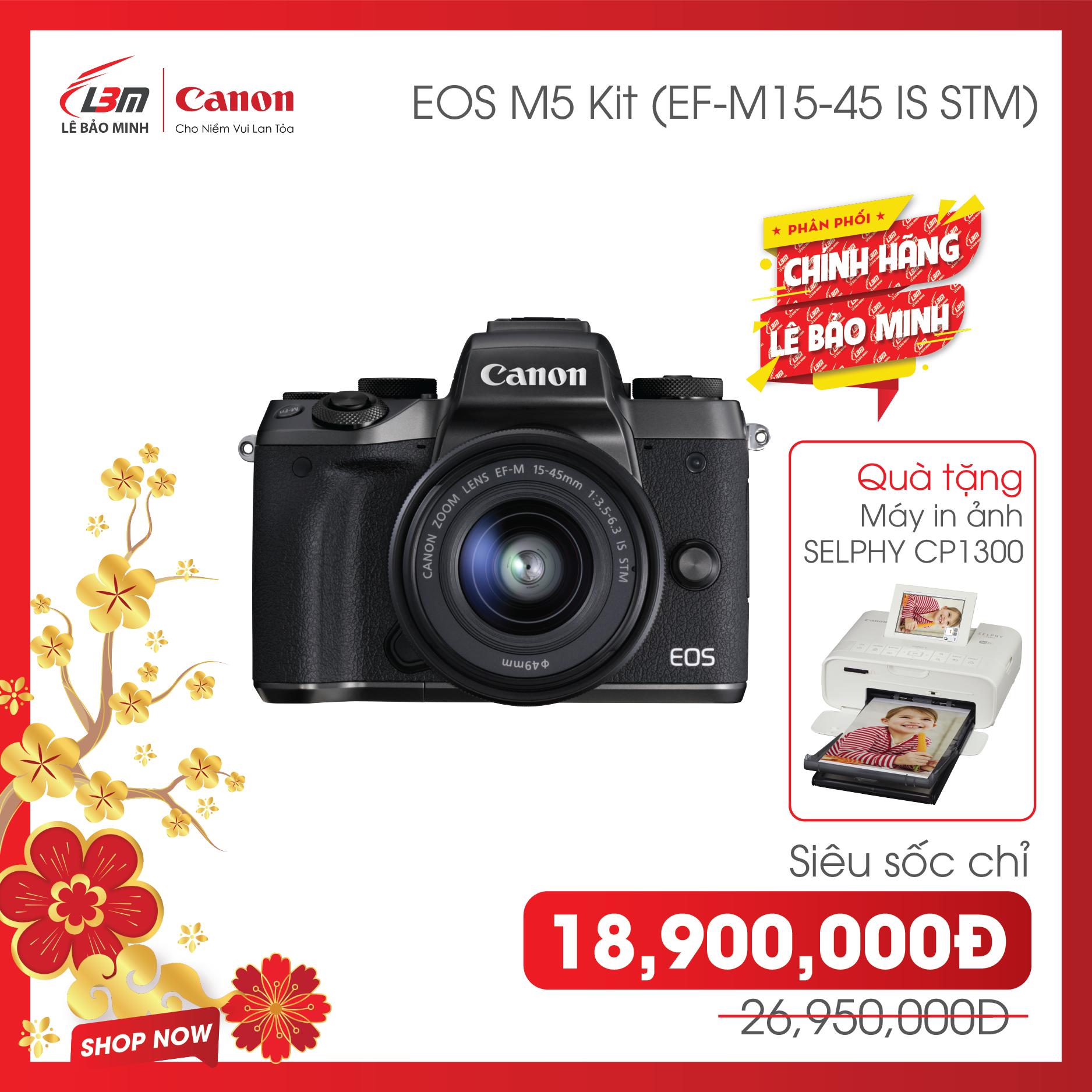 [Trả góp 0%] [giảm ngay 8,050k] Máy ảnh Canon EOS M5 Kit EF-M15-45mm – Hàng Chính Hãng Lê Bảo Minh