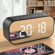 Loa Bluetooth kiêm đồng hồ báo thức mặt gương sáng sang trọng đa chức năng bản cao cấp