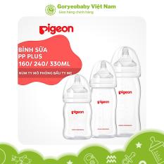 [CHÍNH HÃNG] Bình sữa cổ rộng cho bé PP Plus Pigeon chịu nhiệt cao 160ml/ 240ml/ 330ml – Goryeobaby Việt Nam – silicone mềm, an toàn với bé