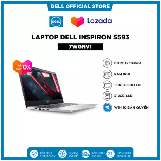 [TRẢ GÓP 0% ] Laptop Dell Inspiron 5593 (7WGNV1) Core i5 1035G1 15inch FullHD Ram 8GB 512GB SSD Win 10 Bản Quyền