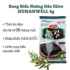 Rong Biển nướng dầu Olive nhạt muối HUMANWELL gói 4g | Dành cho bé ăn dặm từ 06 tháng | Nhập khẩu chính ngạch từ Hàn Quốc