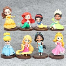 Bộ 08 Mô Hình Các Nàng Công Chúa Disney Có Giá Đỡ (Cao 6-8 cm)