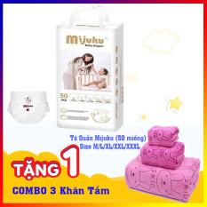 [Combo mua 2 tặng 1] Mua 2 tã bỉm quần Mijuku gói 50 miếng tặng 1 bộ 3 khăn tắm