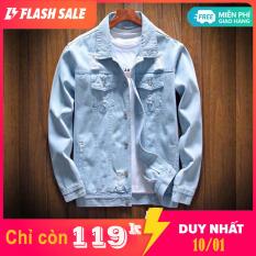 Áo khoác jean nam thời trang ELISESHOP xước nhẹ đơn giản đậm chất cho bạn Trai tự tin dạo phố – KN4801