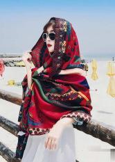 Khăn Choàng Cổ Màu Đỏ Họa Tiết Thổ Cẩm – Cotton Viscose – 180x100cm – Mã KC071