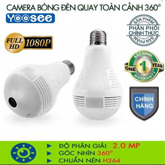 [Bảo Hành 24 tháng] Camera bóng đèn Wifi YOOSEE Full HD 2.0 MP quay toàn cảnh 360 độCamera KHÔNG DÂY hỗ trợ ghi âm đàm thoại 2 chiều lưu trữ video