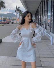 [Mẫu Mới]Đầm Nữ Cột Dây Hở Vai Trắng – Đen Chất Liệu Kate Thoải Mái Thời Trang HARI
