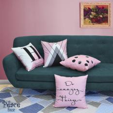 Gối tựa lưng văn phòng, gối sofa, gối trang trí họa tiết chất liệu nhung in 2 mặt The Peace House – Hồng kẹo ngọt