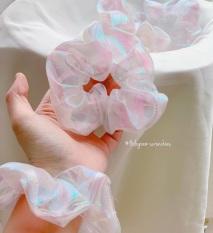 Cột (buộc) tóc vải scrunchies hologram trắng xinh xắn Thời Trang B&T
