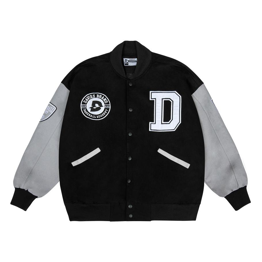 Áo bomber bóng chày nam nữ Davies brand – Grey Varsity Baseball Academy Bomber