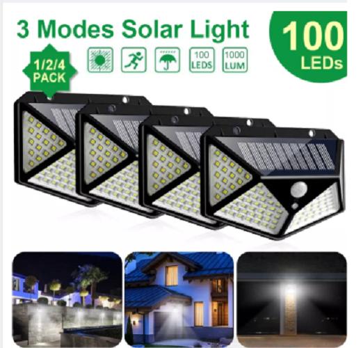 Đèn led năng lượng mặt trời 100 led cảm ứng chuyển động 4 mặt